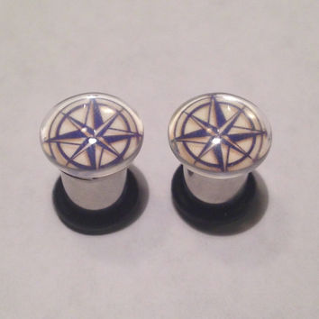 Compass Rose Picture Plugs & Earrings 14g-00g