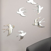 Flying Sparrow Wall Mirrors - Set of 6