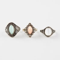 Full Tilt 3 Piece Textured Stone Rings Gold