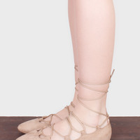 Lace Up Ballet Flats - Taupe