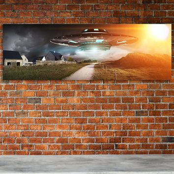 UFO Aliens Extraterrestrials Abduction Flying Saucer Framed Canvas Wall Art
