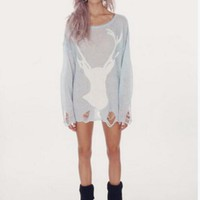 Europe and United States women's hole deer sweater pepper Wildfox tear Europe and America series fawn jumper