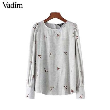 Vadim women cute ruffled floral embroidery shirts o neck long sleeve back button blouse ladies vintage tops blusas LT2511