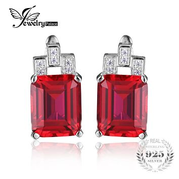 Jewelrypalace Luxury Emerald Cut 12.1ct Created Red Ruby Clip On Earrings 925 Sterling Silver  2016 Women New Vintage Stylish