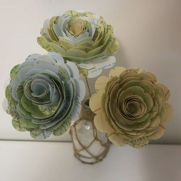 "Big World Map Roses on Stems, Set of 3, 3"" Paper Flower Blossoms, Atlas Wedding Decoration"