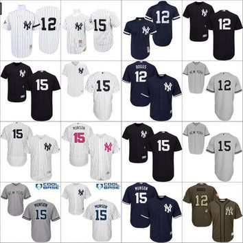 Navy Blue 1995 Throwback 15 Thurman Munson 12 Wade Boggs Authentic Jersey , Men's Mitchell And Ness MLB New York Yankees