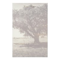Vintage Look Lone Tree Art Photo Your Name on it Stationery