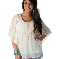 Roper Women's Cream Chiffon with Embroidery Short Sleeve Peasant Top