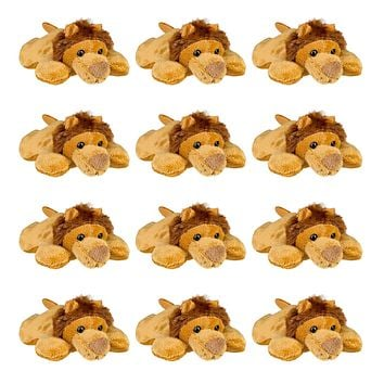Bulk 12 Pack African Lion 4 Inch Stuffed Animals, Bundle Animal Toys, Jungle Safari Party Favors