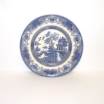 Old Willow Dinner Plate, Blue and White Wall Plaque or Plate, Staffordshire Ironstone, Made in England, Transferware, English Ceramics