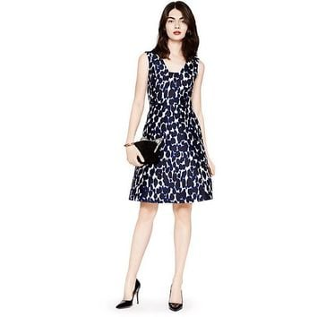 Kate Spade New York Leopard Fit & Flare Dress Blue Indigo