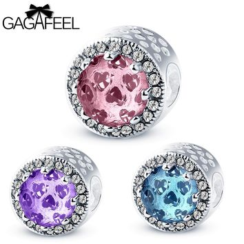 GAGAFEEL Crystal Beads Radiant Hearts Blue Sky Crystal & Clear Charm Beads Fit Pandora