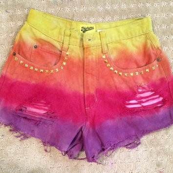 rainbow sunset gold studded high waiated shorts