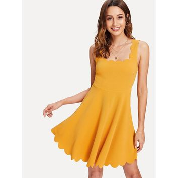 Scalloped Fitted & Flared Tank Dress Yellow