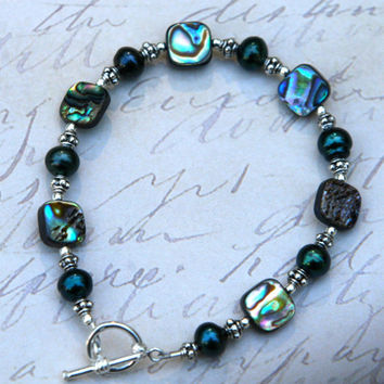 Abalone Bracelet, Silver Beads, Silver Toggle Clasp, Ocean, Beach, Direct Checkout, Abalone Shell, Nautical Jewelry