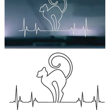 Heartbeat Cat STYLE 001 Vinyl Graphic Decal