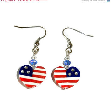 ON SALE American Flag Polymer Clay Heart Earrings