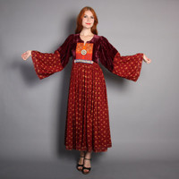 70s BOHO Tent DRESS / Beaded Floral Afghani Gypsy Dress