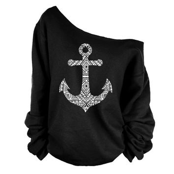 Fashion Anchor Print Skew Neck Sweatshirt T-shirt