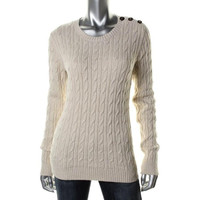 Charter Club Womens Cable Knit Metallic Pullover Sweater