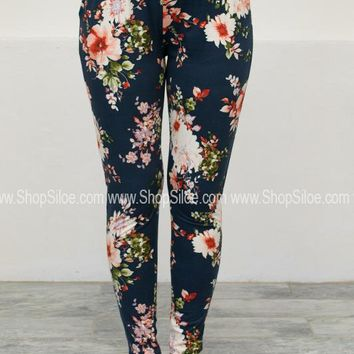 Floral Pocket Sweat Leggings | Navy