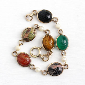 Vintage 12k Rosy Yellow Gold Filled Scarab & Cultured Pearl Bracelet - Retro 1950s Egyptian Revival Tiger's Eye Unakite Beetle Bug Jewelry
