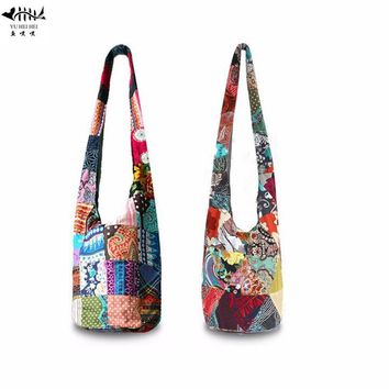 National Hippie Hipster Bags Women Cotton Canvas Shoulder Crossbody Bag Ladies Messenger Cross Body Bags free shipping