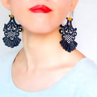 gothic black gold lace earrings // vintage retro earrings //gift for her / lace accessory