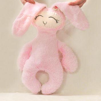 Pink Stuffed BUNNY Sewing pattern, Soft Plush toy, Baby Nursery Decor, Fleece Animal, PDF tutorial Waldorf Toy