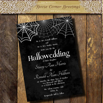 Printable Halloween Wedding Invitation  Hallowedding invitations Gothic invitation Spider Wed invitations Black and white invitation Party