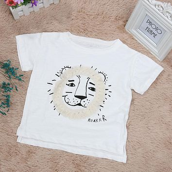Little Boys Girls Summer Short Sleeve T Shirt Top Kids Casual Lion Printed White Tee T-shirt Clothes for 2-7 Years Kids