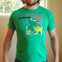 25% Sale VTG 80's Funny Over the Hill Graphic Tee. Green Frog T-shirt. Crude. Soft. Unisex. Men's Medium. Women's Large