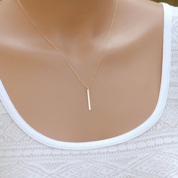 Bar Necklace, Vertical Bar, Dainty Necklace, Gold Necklace, Simple Everyday Necklace, Silver Bar Necklace, Layered Necklace