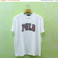15% SALES Vintage 90's POLO Ralph Lauren Big Logo Soft Casual Hip Hop T Shirt