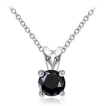 925 Sterling Silver 1ct Black Cubic Zirconia 6.5mm Round Solitaire Necklace