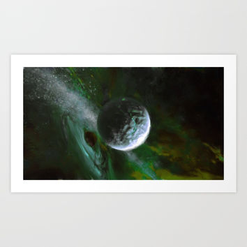 Planet and Black Hole Art Print by alishadawn