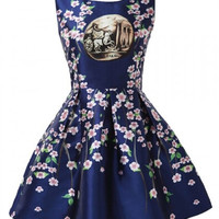 Blue Mini Dress With Royal Look and Peach Fowers