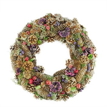 "20"" Sugared Purple and Red Pine Cone and Berries Artificial Christmas Wreath - Unlit"