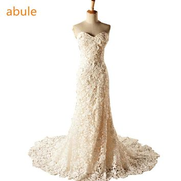 abule 2016 Sweetheart fishtail White lace wedding dress Band New mermaid wedding gown Lace Bra Custom size vestido de noiva