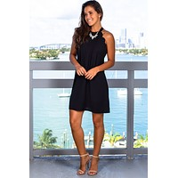 Black Scalloped Short Dress
