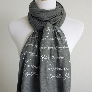 The Raven Literary Scarf- Edgar Allen Poe Quote - Knit Jersey Raw Edged