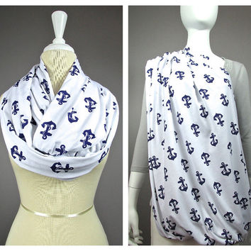 Anchor print Nursing cover  scarf, nursing cover, nursing scarf, breastfeeding cover, nursing infinity scarf, Navy scarf, nautical scarf