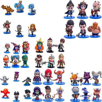 6Pcs/Set Cute Action Figures PVC Ornaments LOL Doll Model Classic Anime Hero Alliance Skin Toys For Children Q Edition Gifts