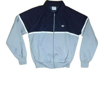 90s ADIDAS Trefoil Navy, Grey, and White Zip Jacket // Adidas Jacket // Health Goth //