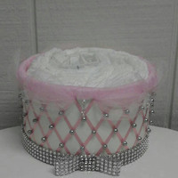 Silver and Pink Princess Baby Shower 1 Tier Bling Diaper Cake