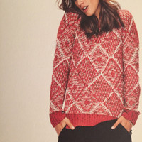 Red Open Knit Textured Sweater