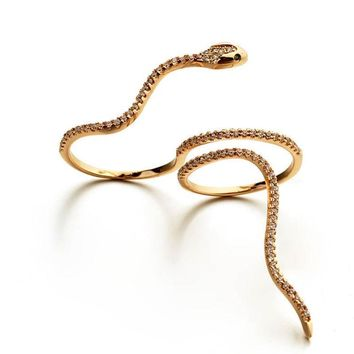 Statement Trendy Anaconda Opening Snake 2 Finger Ring