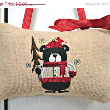 Christmas In July Sale Christmas Door Hanger Pillow Bear Red Bird Tree Brown Beige Repurposed