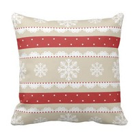 Cute Red White Beige Christmas Snowflakes Pattern Throw Pillow