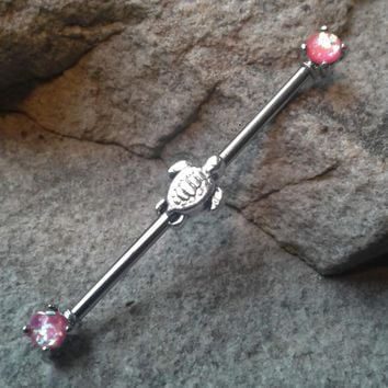 Tiny Turtle Industrial Barbell Opal Pink Ends 14ga Surgical Steel